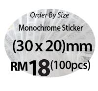 Monochrome Sticker (30 x 20)mm Oval Shape