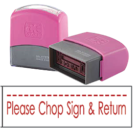 Please Chop, Sign & Return (10x38mm, AE stamp)