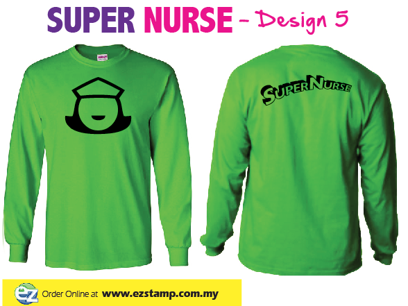 Super Nurse Tee 5 (Long Sleeve) - LIME GREEN (Bk)