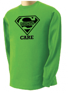 Super Nurse Care Tee 2 (Long Sleeve) - Lime Green