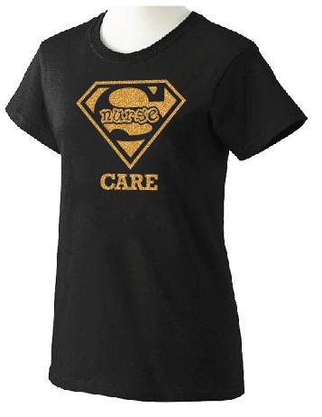 Super Nurse Care Tee 2- Black