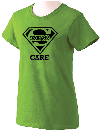Super Nurse Care Tee 2- Lime Green