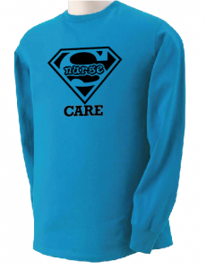 Super Nurse Care Tee 2 (Long Sleeve) - Sea Blue