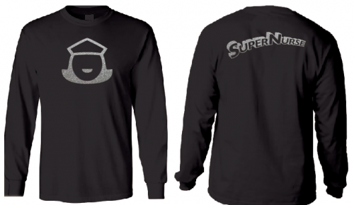 Super Nurse Tee 5 (Long Sleeve) - BLACK (silver)