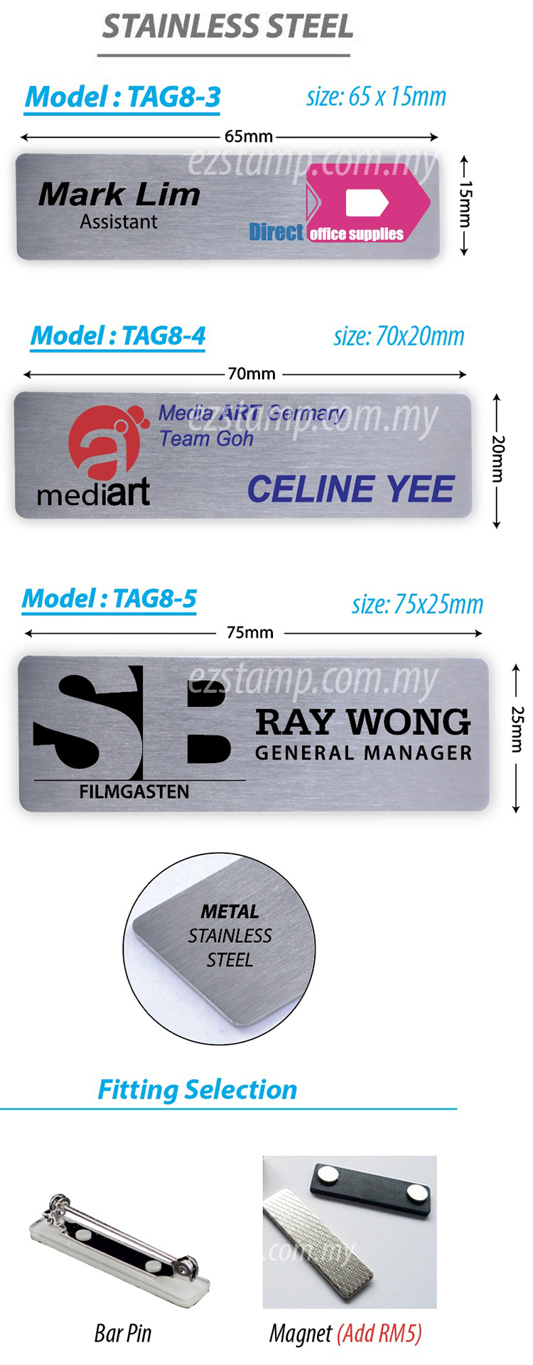 Stainless Steel SILVER Name Tag - Model 8-3
