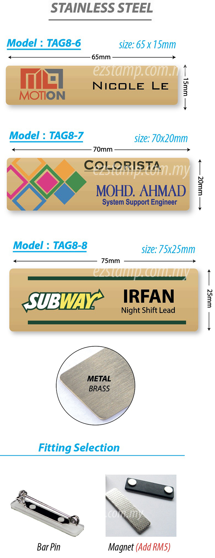 Stainless Steel GOLD Name Tag - Model 8-3