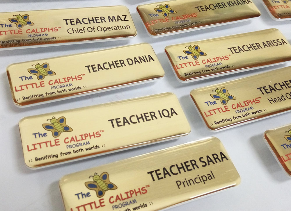 Epoxy Name Tag- Gold Base (25x74mm)