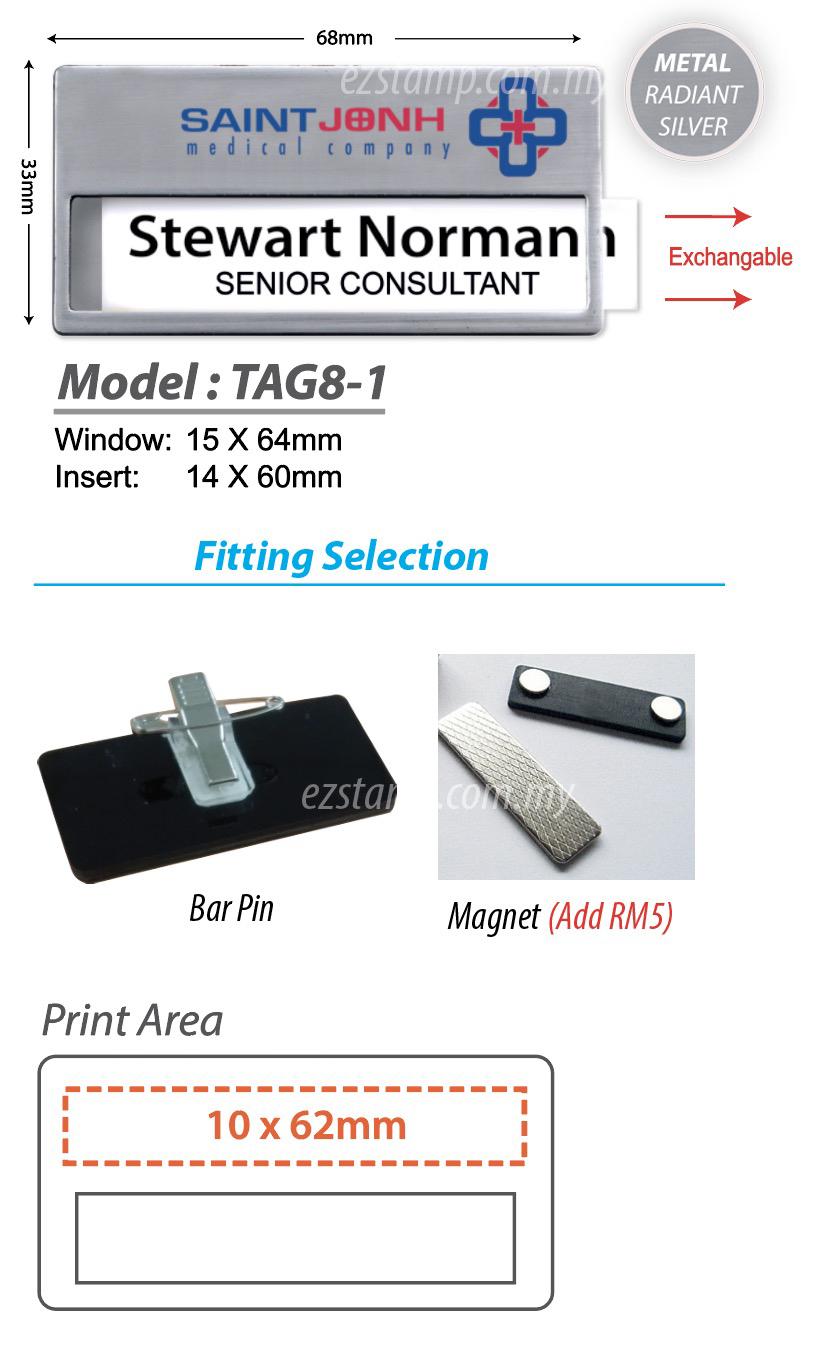 SILVER Reusable Name Tag - Model 8-13