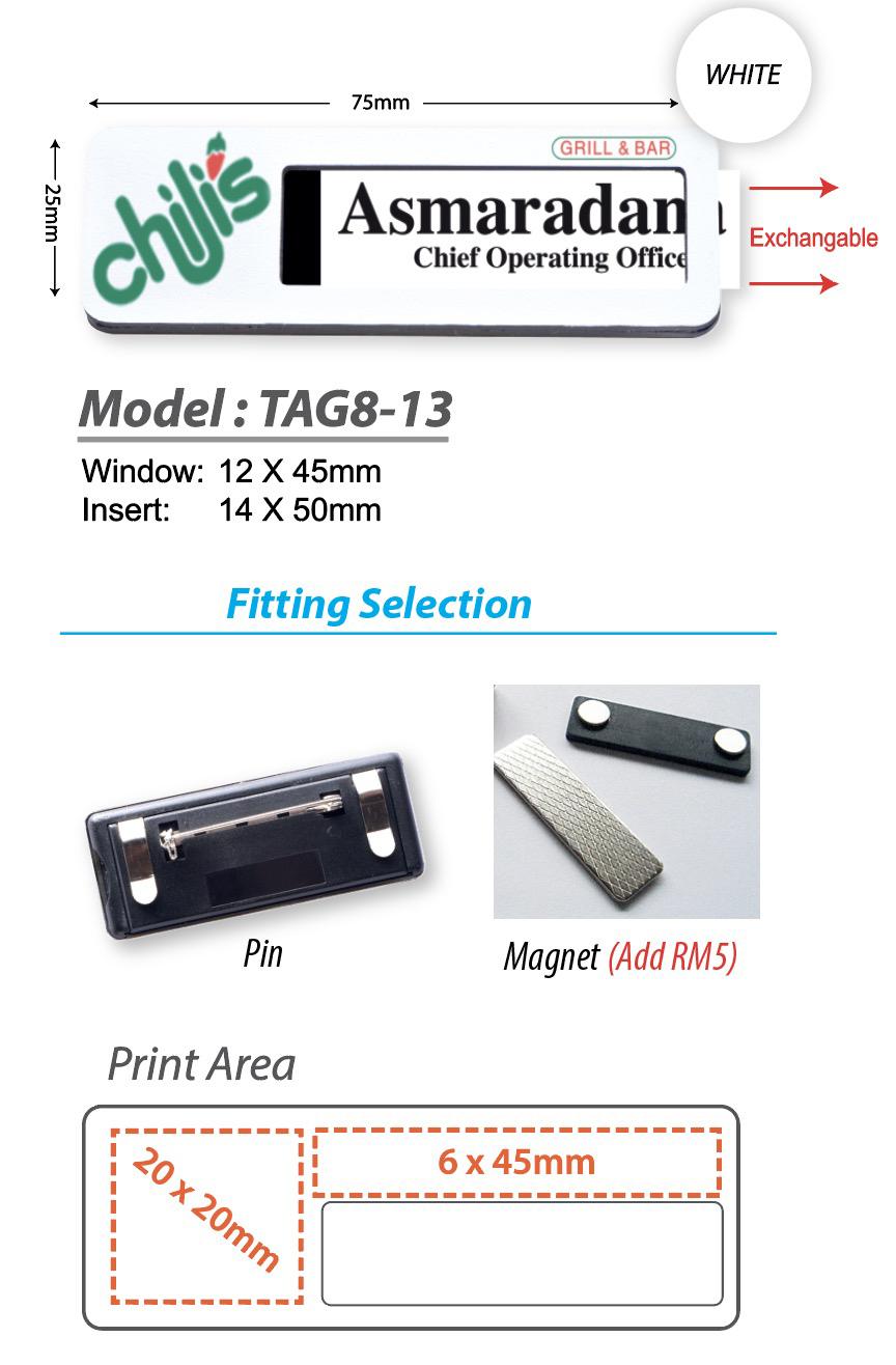 WHITE BASE Reusable Name Tag - Model 8-13