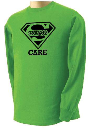Super Nurse Care Tee 2 (Long Sleeve) - Lime Green