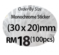 Monochrome Sticker (30 x 20)mm Oval Shape
